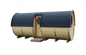 Sauna barrel with side entrance