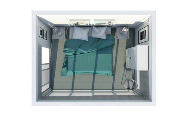 Insulated cube Hotel room 3x4 plan