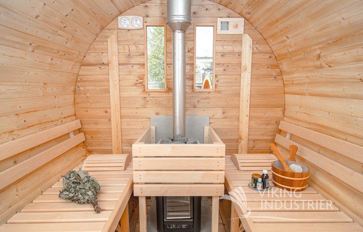 Sauna Barrel Ø1.9 x 3 m with Eco Friendly Roof Inside