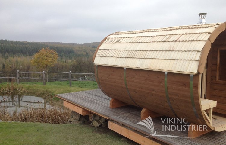 Sauna Barrel  Ø2.2 x 4 m with Eco Friendly Roof
